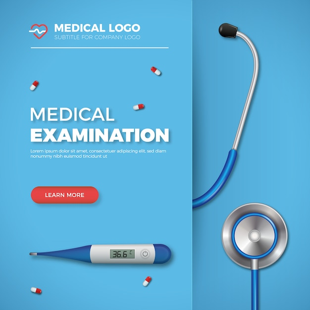 Bannière d'examen médical Vecteur Premium