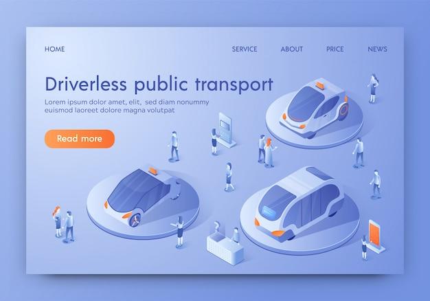 Bannière de l'expo transport public futuriste sans conducteur Vecteur Premium