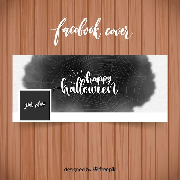Bannière facebook aquarelle avec le concept halloween Vecteur gratuit