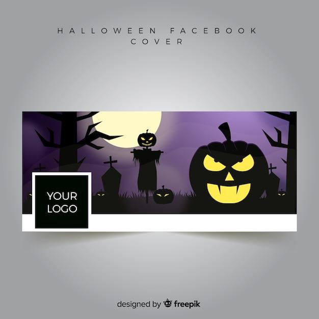 Bannière facebook avec un design halloween Vecteur gratuit