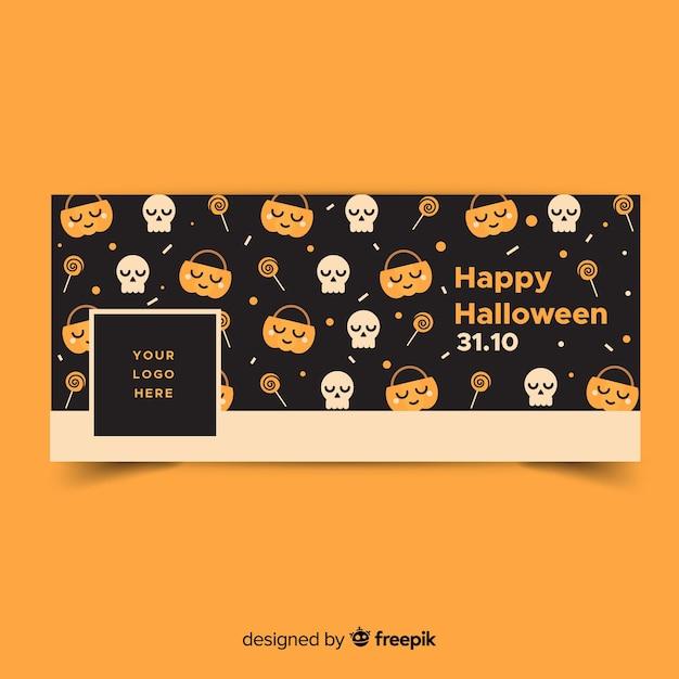 Bannière facebook moderne avec un design halloween Vecteur gratuit