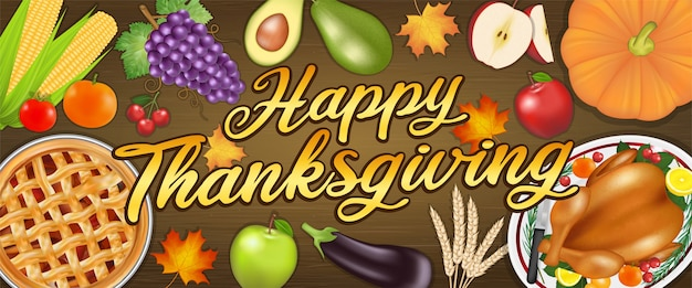 Bannière De Festival De Célébration Joyeux Thanksgiving Avec De La Nourriture Et Des Fruits Vecteur Premium