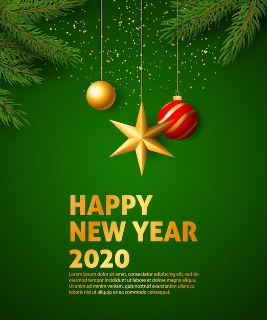 Bannière festive de bonne année 2020 Vecteur gratuit