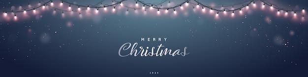 Bannière festive guirlande de lumières scintillantes Vecteur Premium