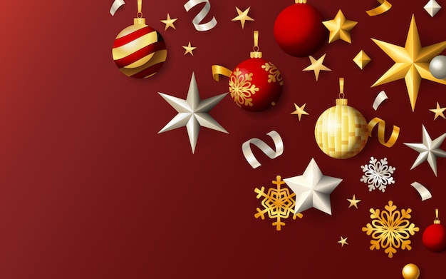 Bannière festive de noël avec des boules et des étoiles sur fond rouge Vecteur gratuit