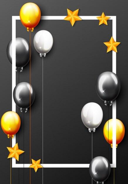 Bannière de fête avec ballons dorés et confettis Vecteur Premium