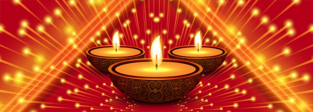 Bannière de fête créative joyeux diwali Vecteur gratuit