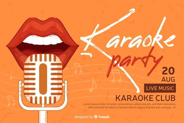 Bannière de fête créative pour karaoké Vecteur gratuit