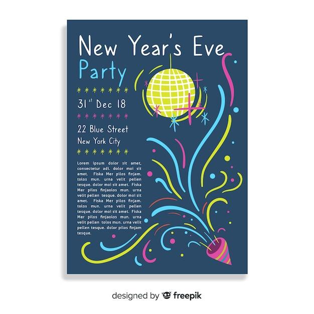 Bannière fête du nouvel an Vecteur gratuit