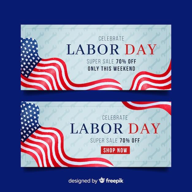 Bannière de la fête du travail pour les ventes avec drapeau américain Vecteur gratuit