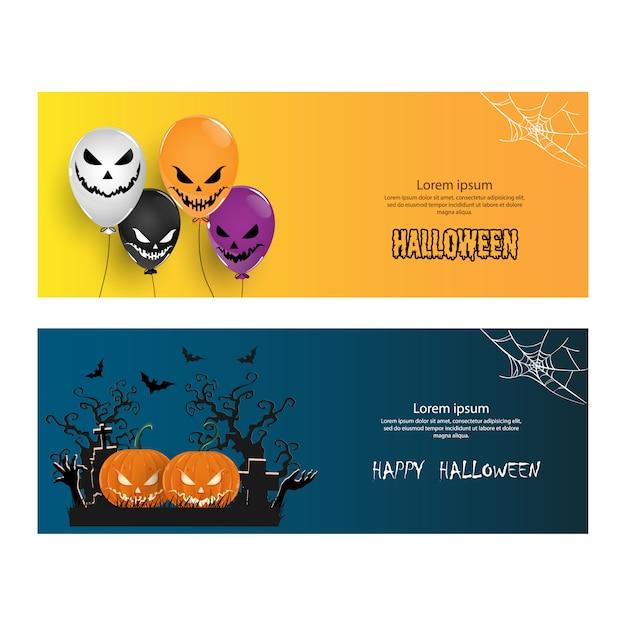 Bannière de fête d'halloween ou cartes de vœux Vecteur Premium