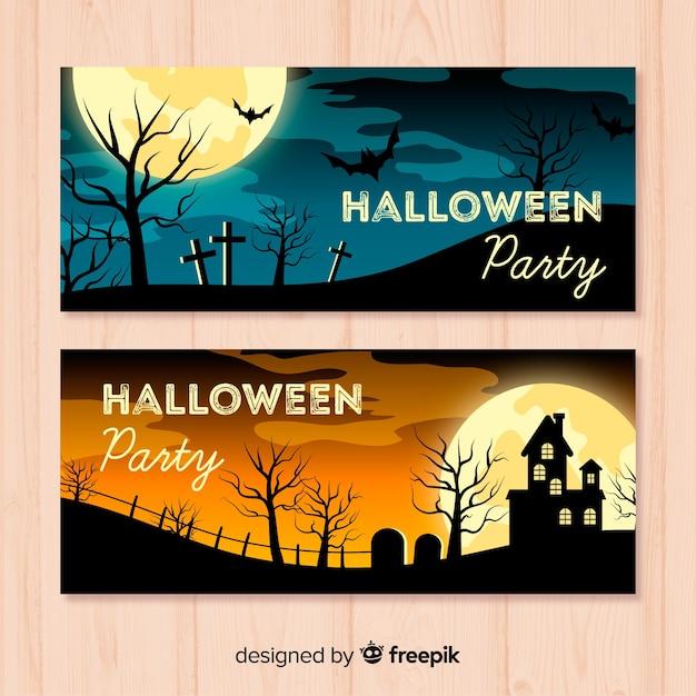 Bannière de fête d'halloween Vecteur gratuit