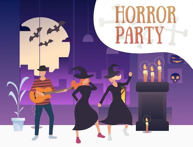 Bannière de fête d'horreur avec des sorcières dansantes et guitariste Vecteur gratuit