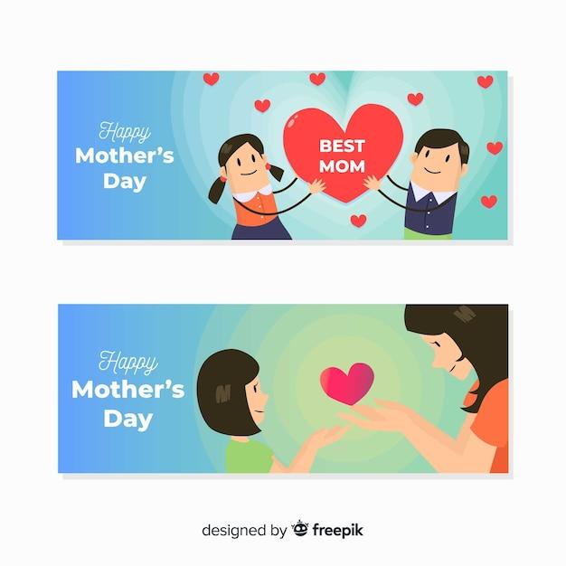 Bannière de fête des mères dessinée à la main Vecteur gratuit