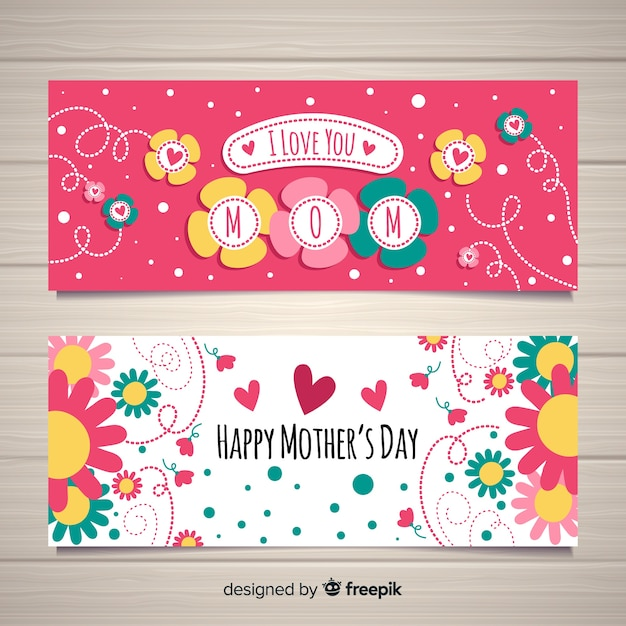 Bannière de la fête des mères Vecteur gratuit