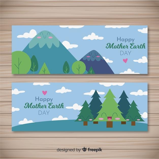 Bannière de fête de la terre mère Vecteur gratuit