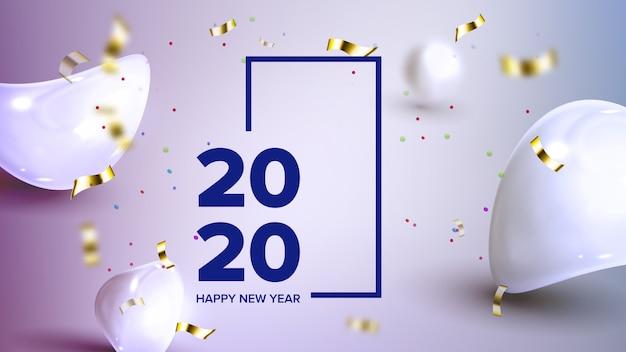 Bannière des fêtes célébrant 2020 Vecteur Premium