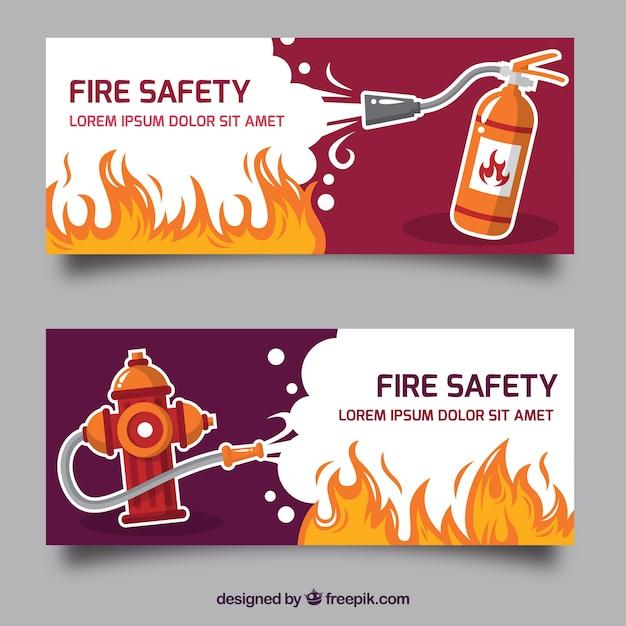 Bannière de feu design plat Vecteur gratuit