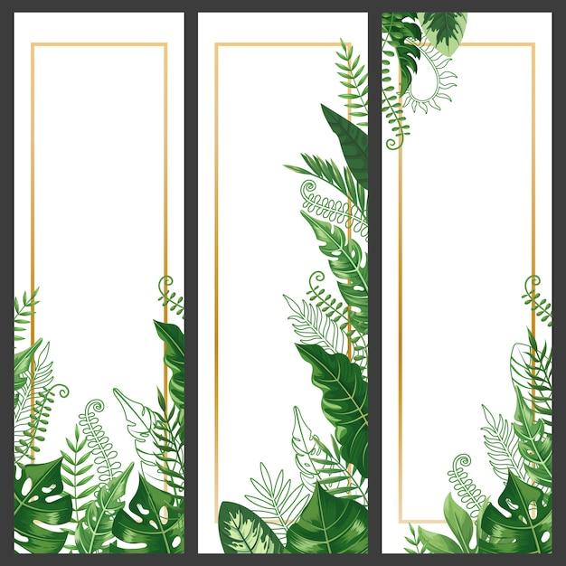 Bannière De Feuilles Exotiques. Feuille De Monstera Tropical, Branche De Palmier Et Plantes Hawaïennes Vintage Bannières Verticales Définies Vecteur Premium