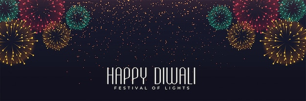 Bannière De Feux D'artifice Du Festival Pour Diwali Vecteur gratuit