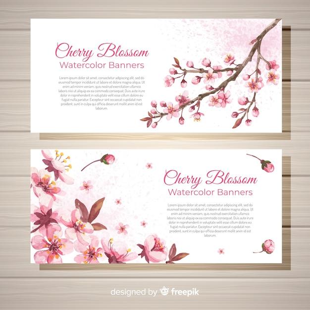 Bannière de fleurs de cerisier dessinés à la main Vecteur gratuit