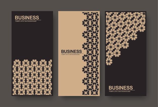 Bannière Florale Abstraite Marron Et Noir Vecteur Premium