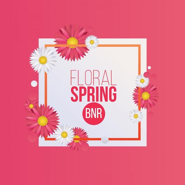 Bannière florale printemps rose Vecteur Premium