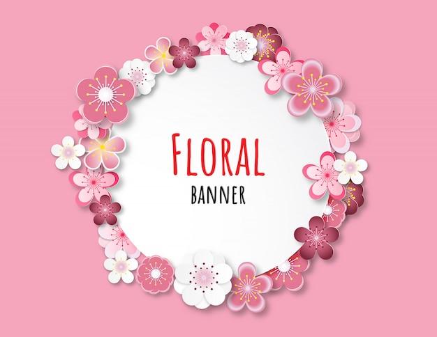 Bannière florale Vecteur Premium