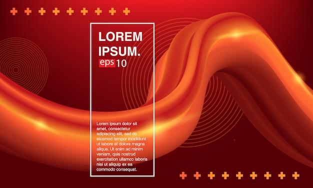 Bannière fluide rouge, fluide abstrait. jeu de couvertures de couleurs. Vecteur Premium