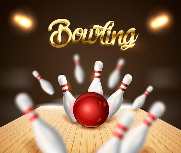 Bannière de fond grève bowling Vecteur Premium