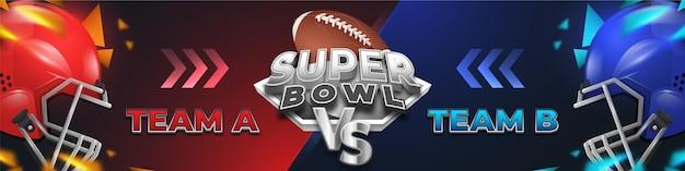 Bannière De Football Américain Du Super Bowl Contre Vs Vecteur Premium