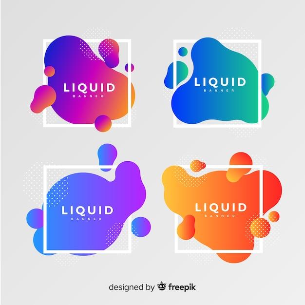 Bannière de formes fluides dégradé abstrait Vecteur gratuit