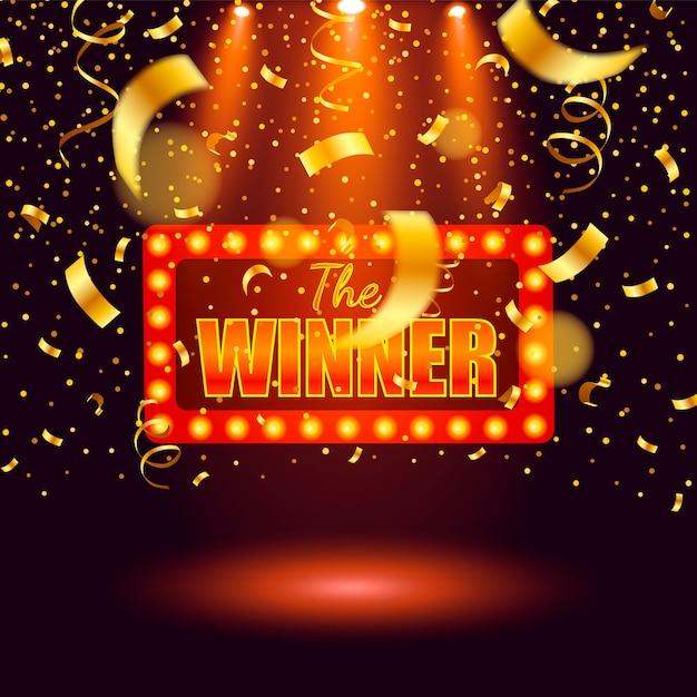 Bannière De Gagnant, Gagnant De Rubans Tombant. Prix Du Jackpot Du Jeu De Loterie Des Gagnants Vecteur Premium