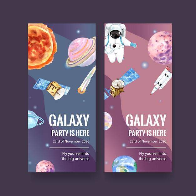 Bannière De Galaxie Avec Soleil, Planète, Astéroïde, Terre, Illustration Satellite Aquarelle. Vecteur gratuit
