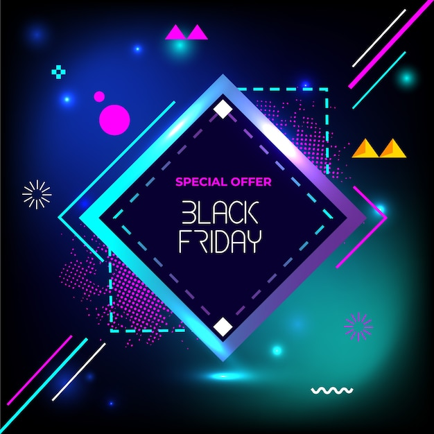 Bannière de géométrie créative vendredi noir vente flash spécial Vecteur Premium