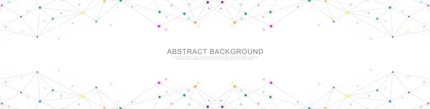 Bannière Géométrique Abstraite Avec Points Et Lignes De Connexion. Connexion Au Réseau Mondial. Technologie Numérique Avec Plexus Vecteur Premium