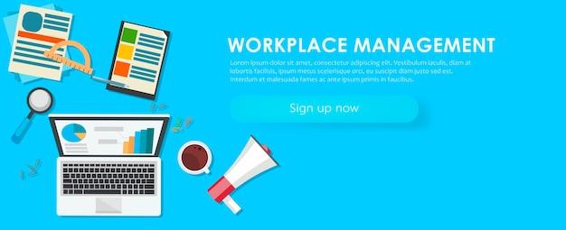 Bannière de gestion de lieu de travail. bureau de travail, ordinateur portable, café. Vecteur gratuit