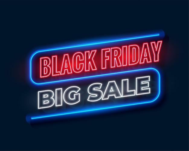 Bannière de grande vente vendredi noir en néon Vecteur gratuit
