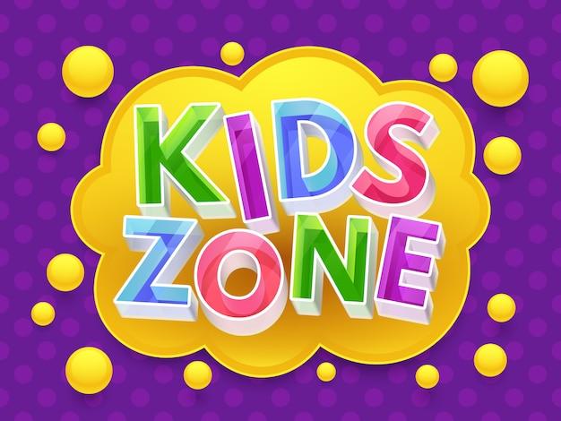 Bannière graphique de zone enfants pour salle de jeux pour enfants. Vecteur Premium