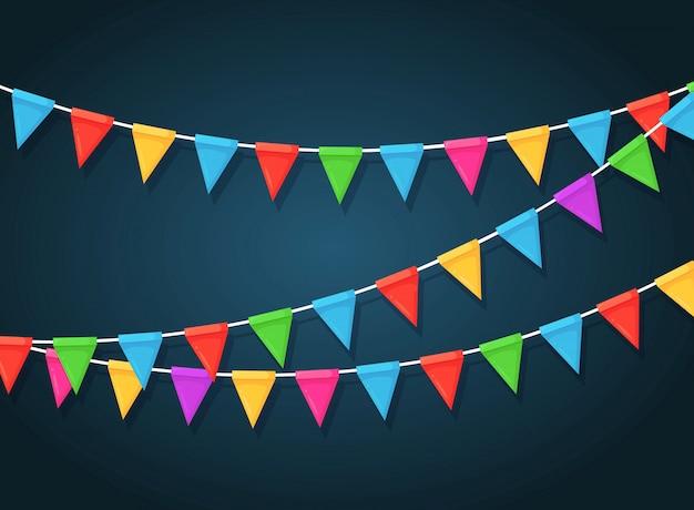 Bannière Avec Guirlande De Drapeaux Et Rubans De Festival De Couleur, Banderoles. Contexte Pour Célébrer La Fête De Joyeux Anniversaire, Carnaval, Juste. Vecteur Premium