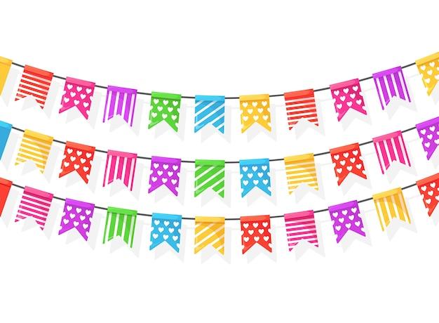 Bannière Avec Guirlande De Drapeaux Et Rubans De Festival De Couleur, Banderoles Sur Fond Blanc. Décoration, Symboles Pour Célébrer Joyeux Anniversaire, Carnaval, Foire. Vecteur Premium