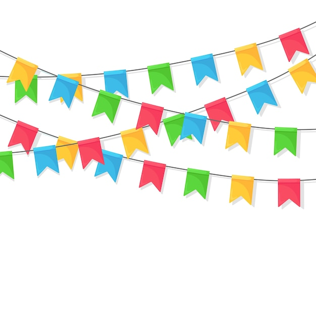 Bannière Avec Guirlande De Drapeaux Et Rubans De Festival De Couleur, Banderoles. Vecteur Premium