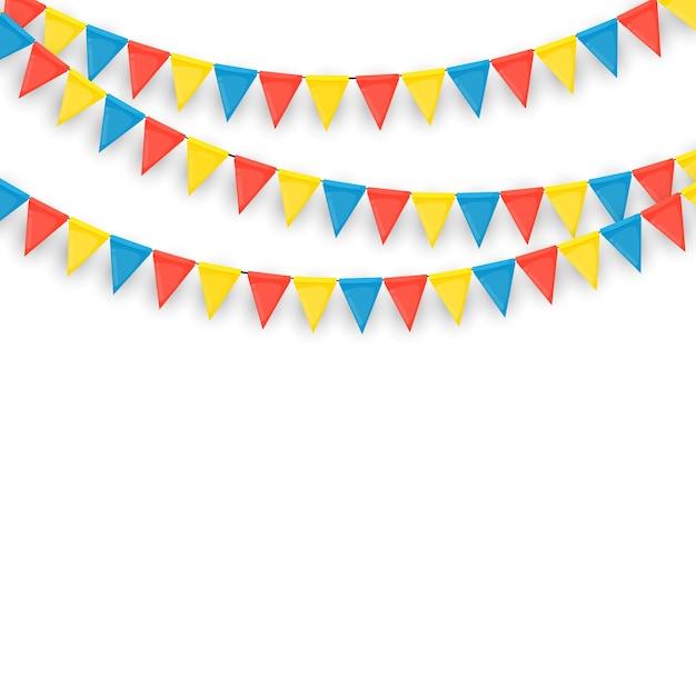 Bannière Avec Guirlande De Drapeaux Et De Rubans. Fond De Fête De Vacances Pour Fête D'anniversaire, Carnava. Vecteur Premium
