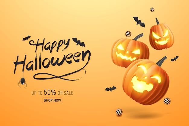 Bannière D'halloween, Bannière De Promotion De Vente Avec Des Chauves-souris Et Des Citrouilles D'halloween. Illustration 3d Vecteur Premium