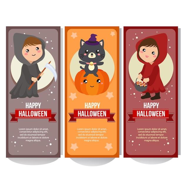 Bannière d'halloween avec costume de capuche Vecteur Premium