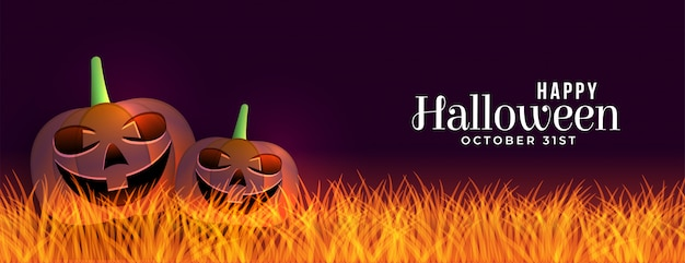 Bannière d'halloween effrayant avec bannière de citrouilles riant Vecteur gratuit