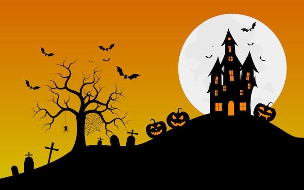 Bannière halloween avec fond d'araignées Vecteur Premium