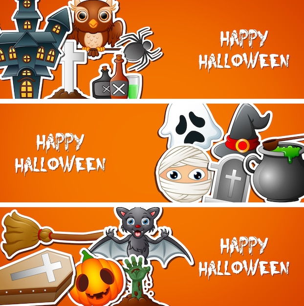 Bannière halloween heureuse avec des autocollants mignons Vecteur Premium