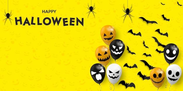 Bannière D'halloween Heureux. Ballons à Air Effrayants Avec Des Araignées Et Des Chauves-souris. Vecteur Premium
