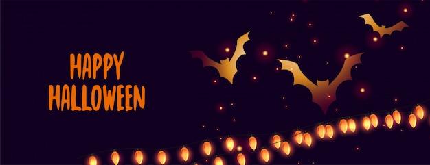 Bannière d'halloween heureux avec des chauves-souris rougeoyantes et des lumières Vecteur gratuit